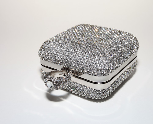 Glitter square ring clutch.