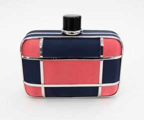 Color-block box clutch (red and navy).