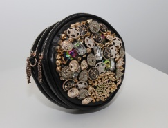 Round shape studded Purse (all types of buttons, charms) - detachable strap