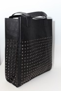 Black rectangle studded tote.