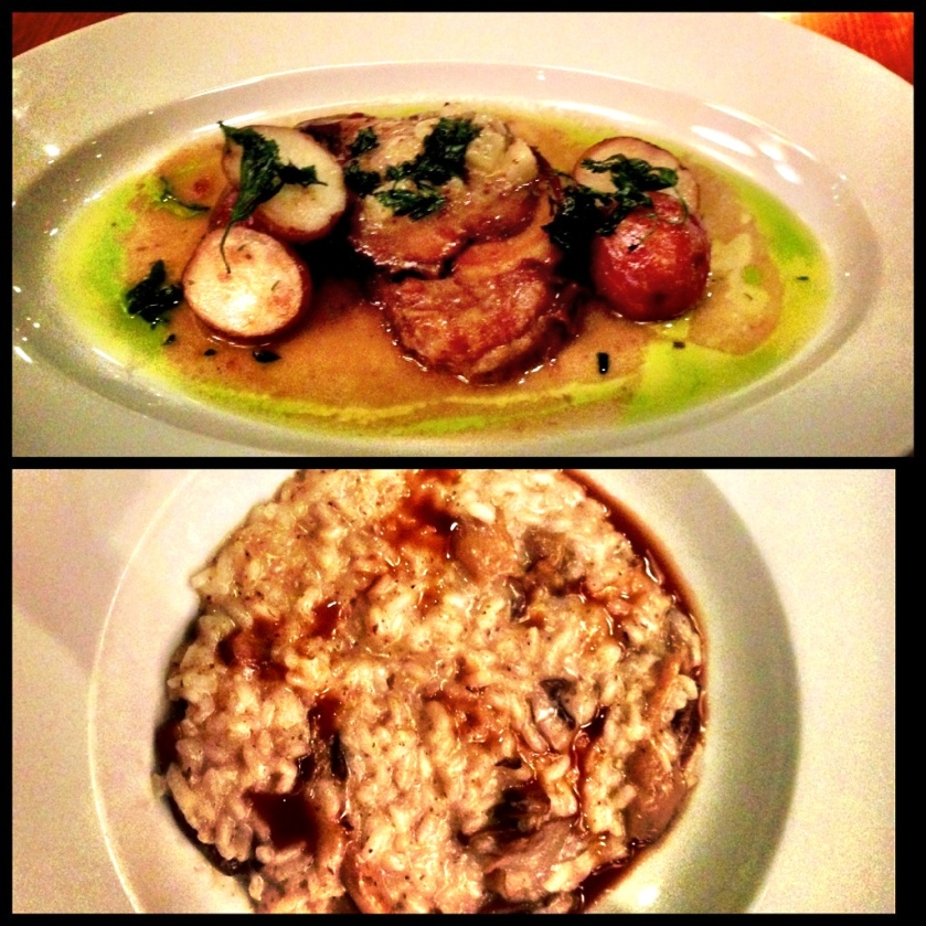 Porchetta di fabbrica, pear mostarda, roasted potatoes with rosemary.Risotto with mushroom and truffle.
