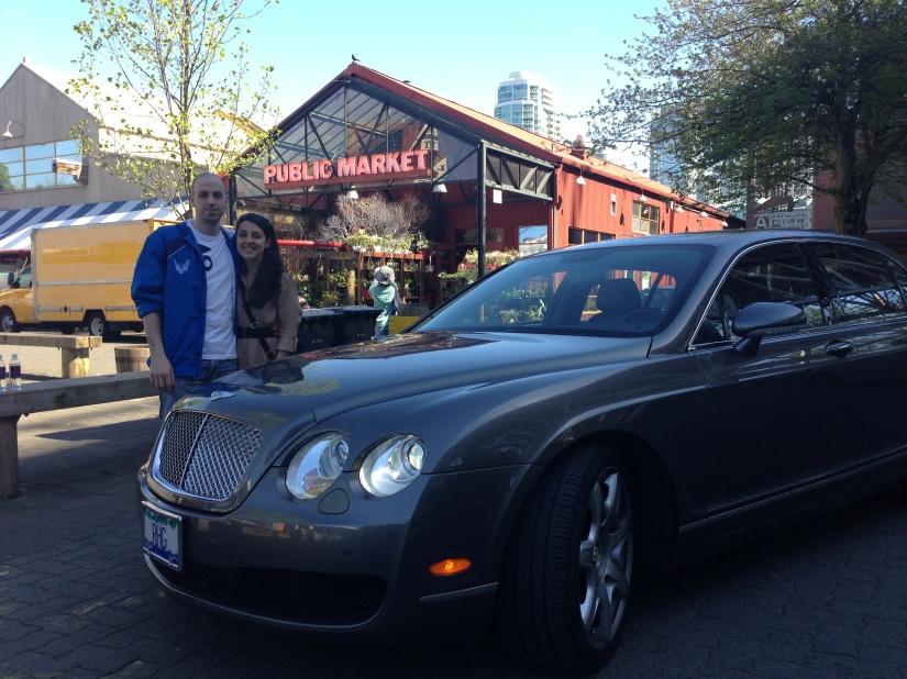 Us and Jim's Bentley in Granville Island